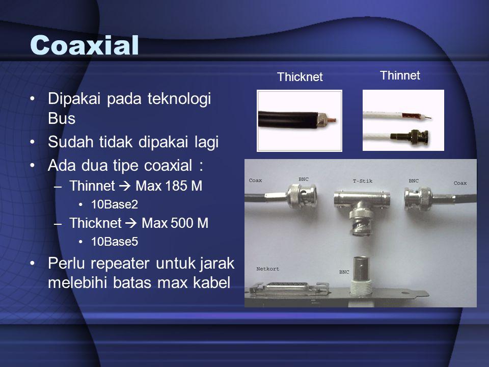 Coaxial Dipakai pada teknologi Bus Sudah tidak dipakai lagi Ada dua tipe coaxial : –Thinnet  Max 185 M 10Base2 –Thicknet  Max 500 M 10Base5 Perlu re
