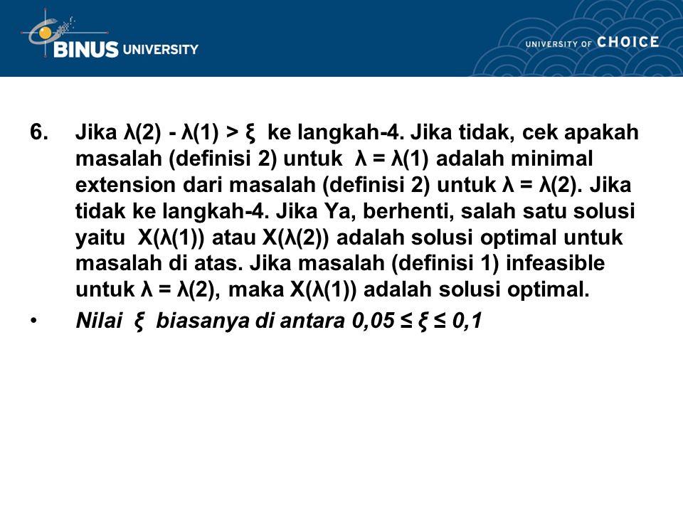 6. Jika λ(2) - λ(1) > ξ ke langkah-4. Jika tidak, cek apakah masalah (definisi 2) untuk λ = λ(1) adalah minimal extension dari masalah (definisi 2) un