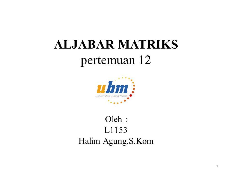 ALJABAR MATRIKS pertemuan 12 Oleh : L1153 Halim Agung,S.Kom 1