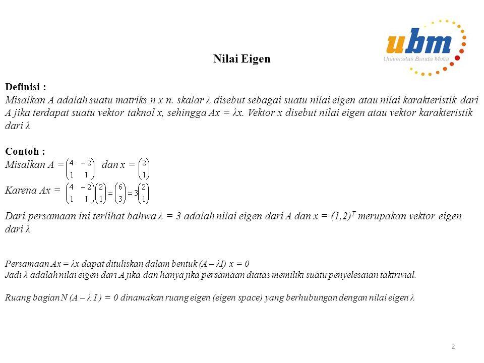 Latihan Pada setiap soal berikut ini, faktorkan matriks A kedalam hasil kali XDX -1, dimana D adalah diagonal 1.A = 2.B = 12
