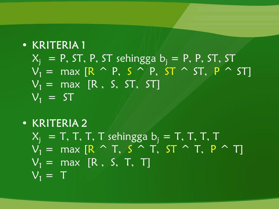 KRITERIA 1 X j = P, ST, P, ST sehingga b j = P, P, ST, ST V 1 = max [R ^ P, S ^ P, ST ^ ST, P ^ ST] V 1 = max [R, S, ST, ST] V 1 = ST KRITERIA 2 X j =
