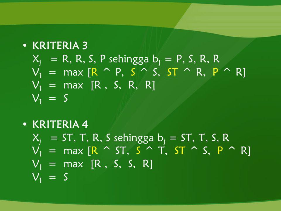 KRITERIA 3 X j = R, R, S, P sehingga b j = P, S, R, R V 1 = max [R ^ P, S ^ S, ST ^ R, P ^ R] V 1 = max [R, S, R, R] V 1 = S KRITERIA 4 X j = ST, T, R