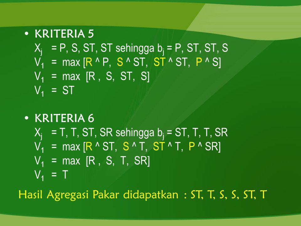 KRITERIA 5 X j = P, S, ST, ST sehingga b j = P, ST, ST, S V 1 = max [R ^ P, S ^ ST, ST ^ ST, P ^ S] V 1 = max [R, S, ST, S] V 1 = ST KRITERIA 6 X j =