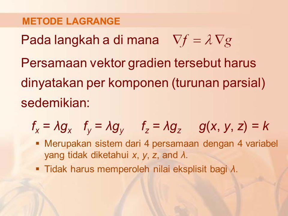 Pada langkah a di mana Persamaan vektor gradien tersebut harus dinyatakan per komponen (turunan parsial) sedemikian: f x = λg x f y = λg y f z = λg z