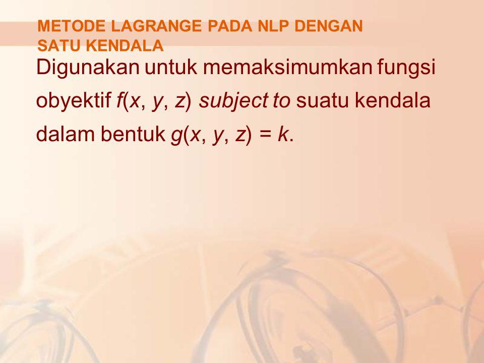 Prinsip tersebut ekuivalen dengan permasalahan: Max atau Min bagi: L(x, y, λ) = f(x, y) – λ(k - g(x, y)) f.o.c bagi permasalah tsb: L x = f x – λ g x =0 ↔ f x = λg x L y = f y – λ g y =0 ↔ f x = λg x L λ = k – g(x, y) =0 ↔ g(x, y) = k