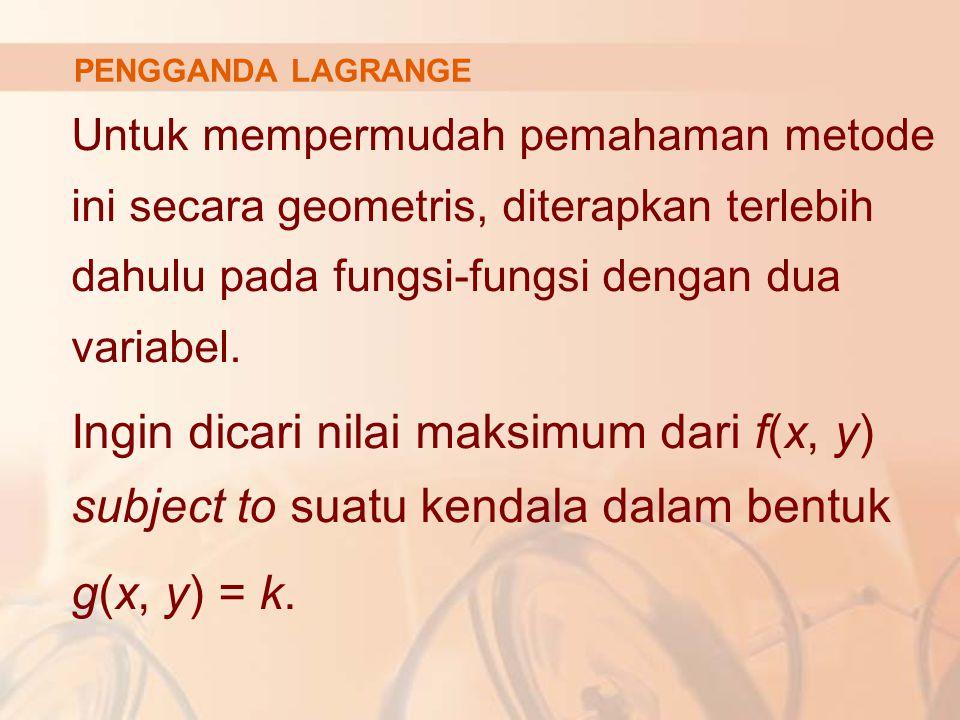 PENGGANDA LAGRANGE Untuk mempermudah pemahaman metode ini secara geometris, diterapkan terlebih dahulu pada fungsi-fungsi dengan dua variabel. Ingin d
