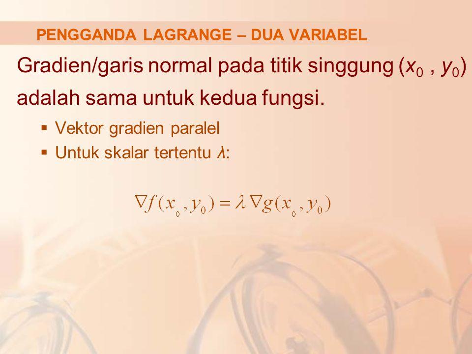 Ekuivalen dengan: Max atau Min bagi: L(x, y, λ 1, …, λ m )= f(x, y) – λ 1 (k 1 – g 1 (x, y)) – … – λ m (k m – g m (x, y)) f.o.c bagi permasalah tsb: L x = f x – λ 1 g 1x – … – λ m g mx =0 L y = f y – λ 1 g 1y – … – λ m g my =0 L λi = k i – g i (x, y) =0 untuk i = 1, …, m