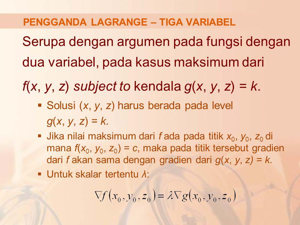 Serupa dengan argumen pada fungsi dengan dua variabel, pada kasus maksimum dari f(x, y, z) subject to kendala g(x, y, z) = k.  Solusi (x, y, z) harus