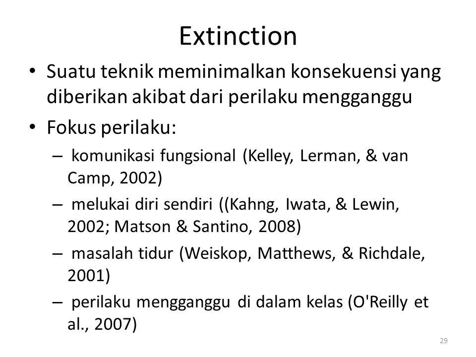 Extinction Suatu teknik meminimalkan konsekuensi yang diberikan akibat dari perilaku mengganggu Fokus perilaku: – komunikasi fungsional (Kelley, Lerma