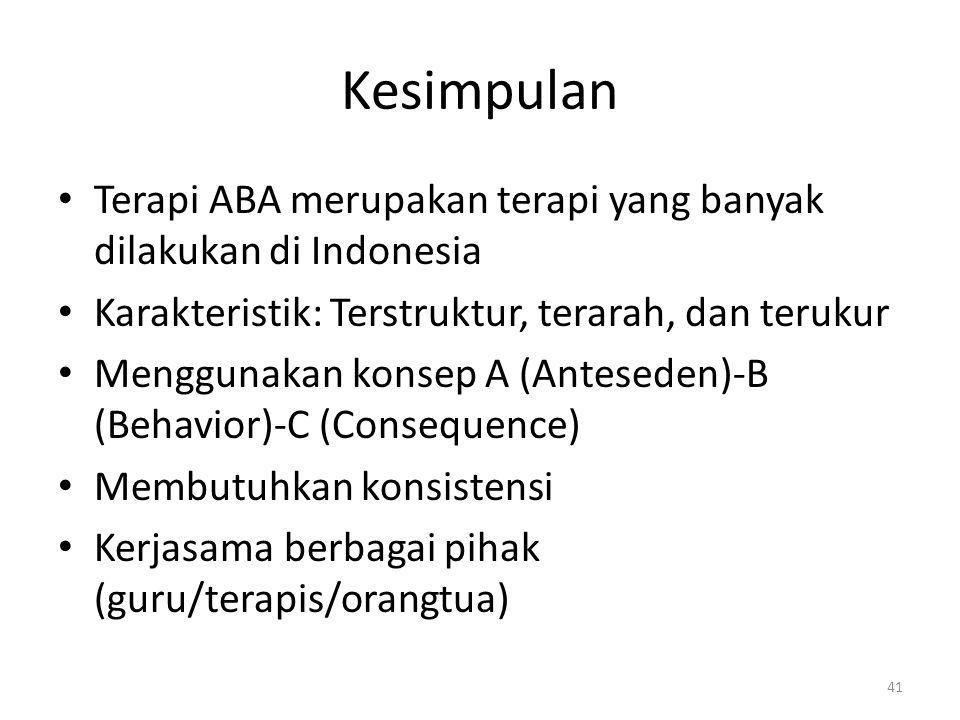 Kesimpulan Terapi ABA merupakan terapi yang banyak dilakukan di Indonesia Karakteristik: Terstruktur, terarah, dan terukur Menggunakan konsep A (Antes