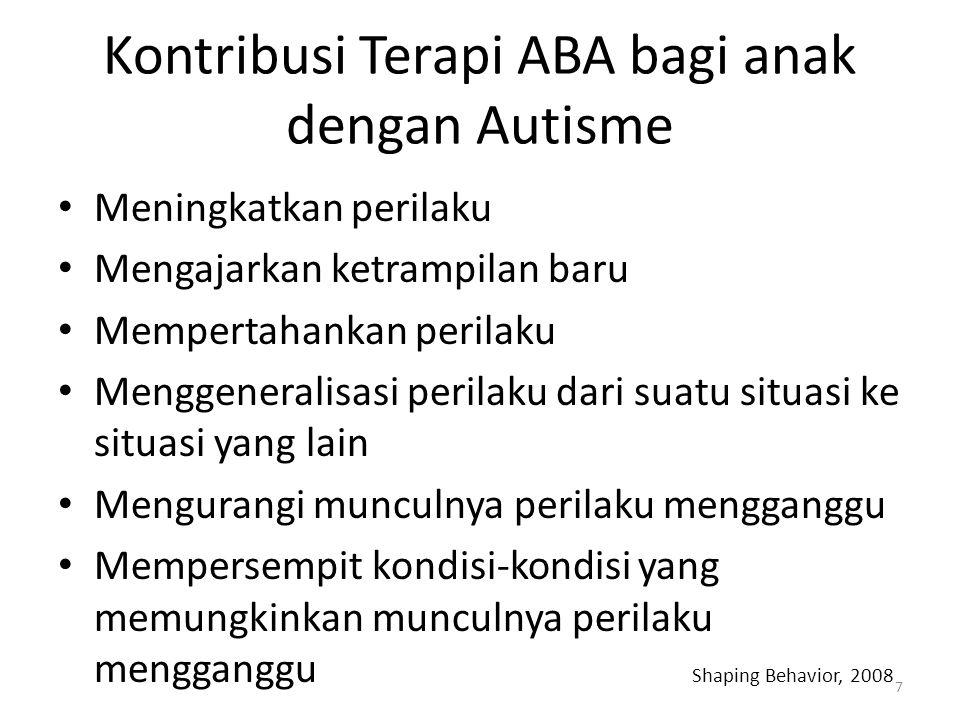 Kontribusi Terapi ABA bagi anak dengan Autisme Meningkatkan perilaku Mengajarkan ketrampilan baru Mempertahankan perilaku Menggeneralisasi perilaku da