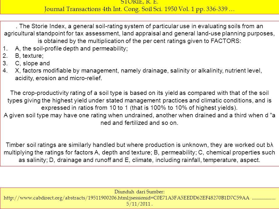 SOIL RATING CHART.Storie soil index rating = Faktor A x Faktor B x Faktor C x Faktor X FAKTOR X.