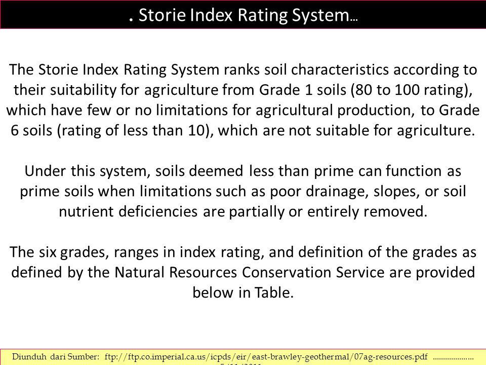 SOIL RATING CHART.Storie soil index rating = Faktor A x Faktor B x Faktor C x Faktor X SOIL GRADING GRADE 1 (Excelent) Tanah-tanah yang mempunyai rate 80-100% dan cocok untuk berbagai jenis tanaman, tanaman pangan, perkebunan dan hutan GRADE 2 (Good) Tanah-tanah yang mempunyai rate 60-79% dan cocok untuk banyak jenis tanaman.