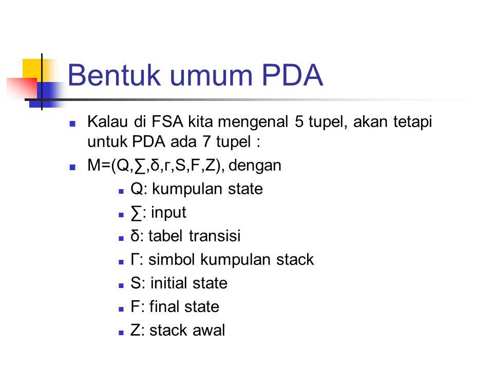 Bentuk umum PDA Kalau di FSA kita mengenal 5 tupel, akan tetapi untuk PDA ada 7 tupel : M=(Q,∑,δ,г,S,F,Z), dengan Q: kumpulan state ∑: input δ: tabel transisi Г: simbol kumpulan stack S: initial state F: final state Z: stack awal