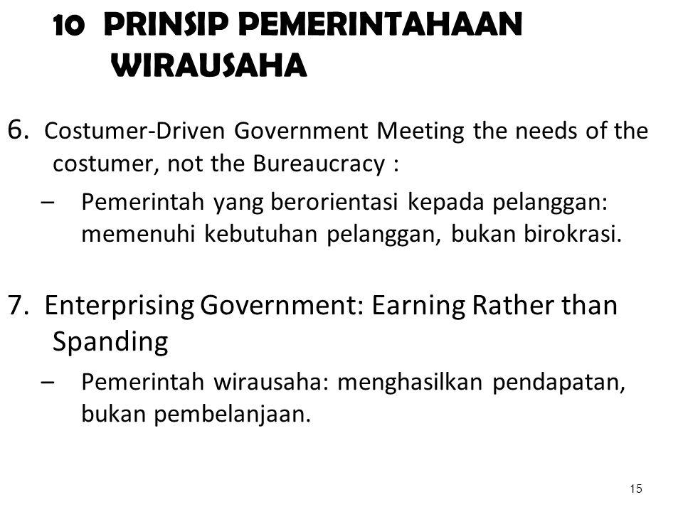 10 PRINSIP PEMERINTAHAAN WIRAUSAHA 6. Costumer-Driven Government Meeting the needs of the costumer, not the Bureaucracy : –Pemerintah yang berorientas