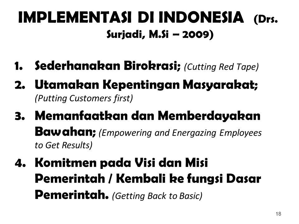 IMPLEMENTASI DI INDONESIA (Drs. Surjadi, M.Si – 2009) 1.Sederhanakan Birokrasi; (Cutting Red Tape) 2.Utamakan Kepentingan Masyarakat; (Putting Custome