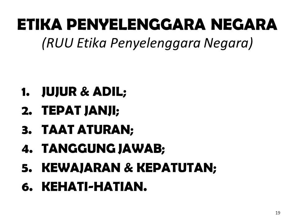 ETIKA PENYELENGGARA NEGARA (RUU Etika Penyelenggara Negara) 1.JUJUR & ADIL; 2.TEPAT JANJI; 3.TAAT ATURAN; 4.TANGGUNG JAWAB; 5.KEWAJARAN & KEPATUTAN; 6