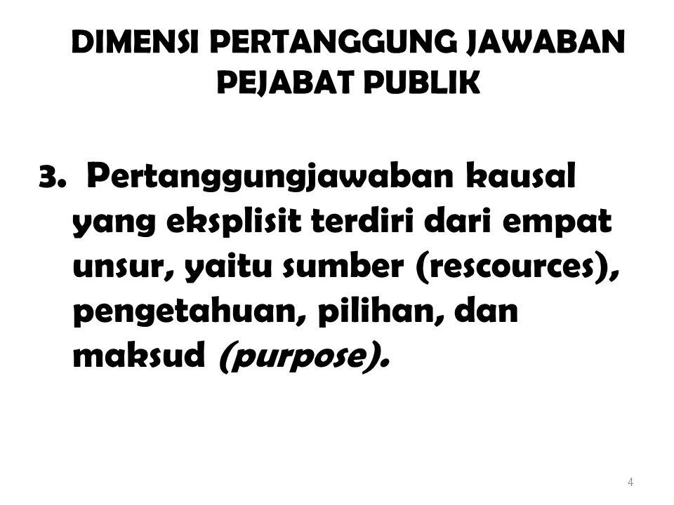 DIMENSI PERTANGGUNG JAWABAN PEJABAT PUBLIK 3. Pertanggungjawaban kausal yang eksplisit terdiri dari empat unsur, yaitu sumber (rescources), pengetahua