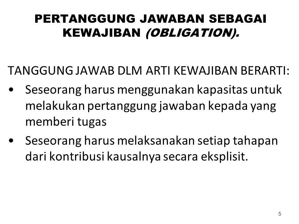 PERTANGGUNG JAWABAN SEBAGAI KEWAJIBAN (OBLIGATION). TANGGUNG JAWAB DLM ARTI KEWAJIBAN BERARTI: Seseorang harus menggunakan kapasitas untuk melakukan p