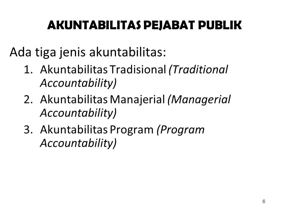 AKUNTABILITAS PEJABAT PUBLIK Ada tiga jenis akuntabilitas: 1.Akuntabilitas Tradisional (Traditional Accountability) 2.Akuntabilitas Manajerial (Manage