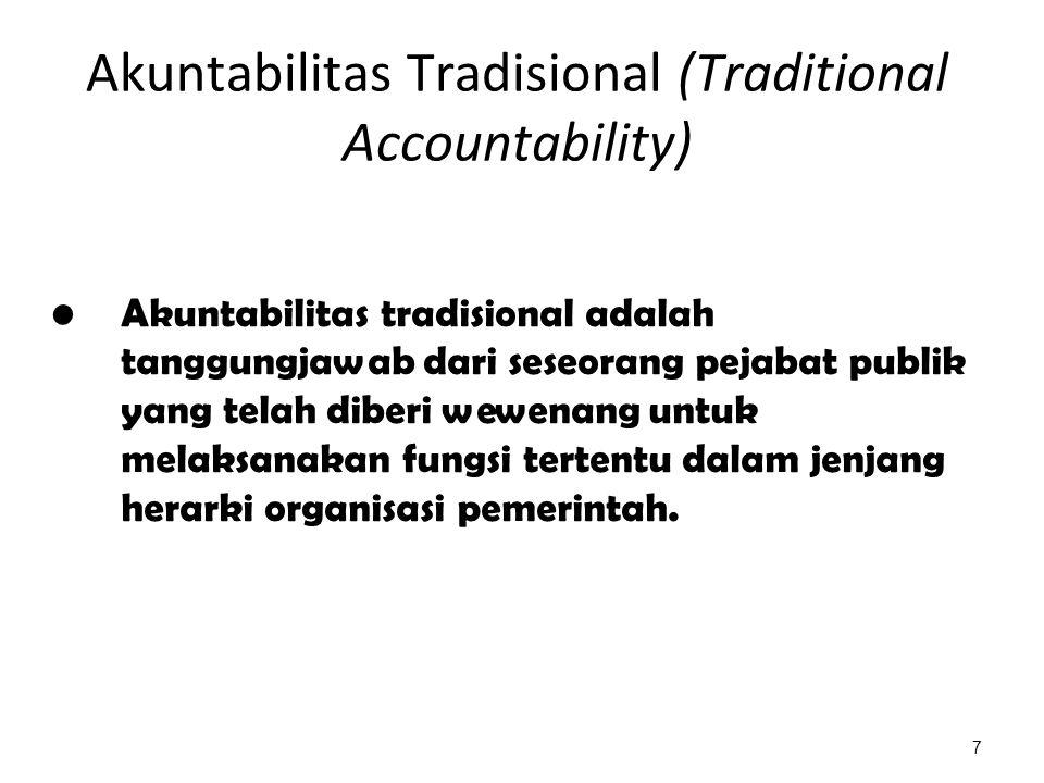 Akuntabilitas Tradisional (Traditional Accountability) Akuntabilitas tradisional adalah tanggungjawab dari seseorang pejabat publik yang telah diberi