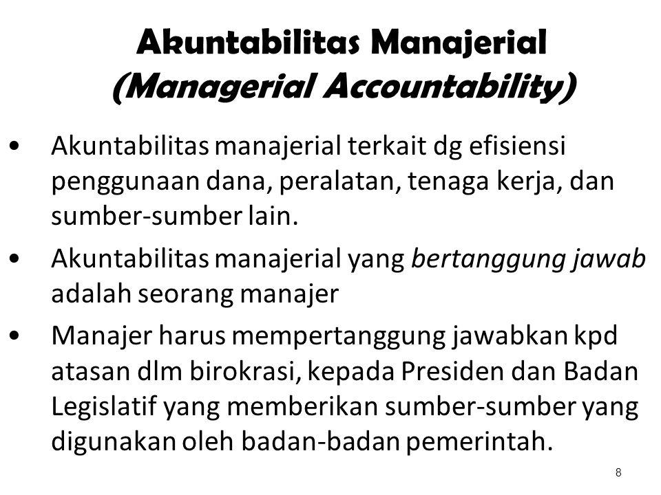 Akuntabilitas Manajerial (Managerial Accountability) Akuntabilitas manajerial terkait dg efisiensi penggunaan dana, peralatan, tenaga kerja, dan sumbe