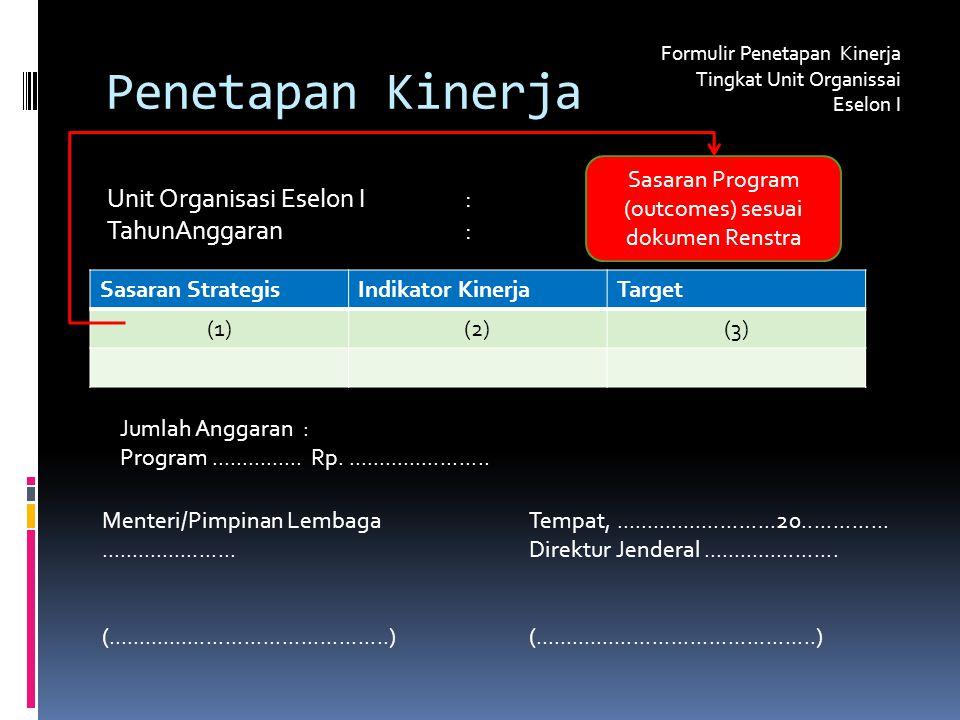 Penetapan Kinerja Formulir Penetapan Kinerja Tingkat Unit Organissai Eselon I Unit Organisasi Eselon I: TahunAnggaran : Jumlah Anggaran : Program...............