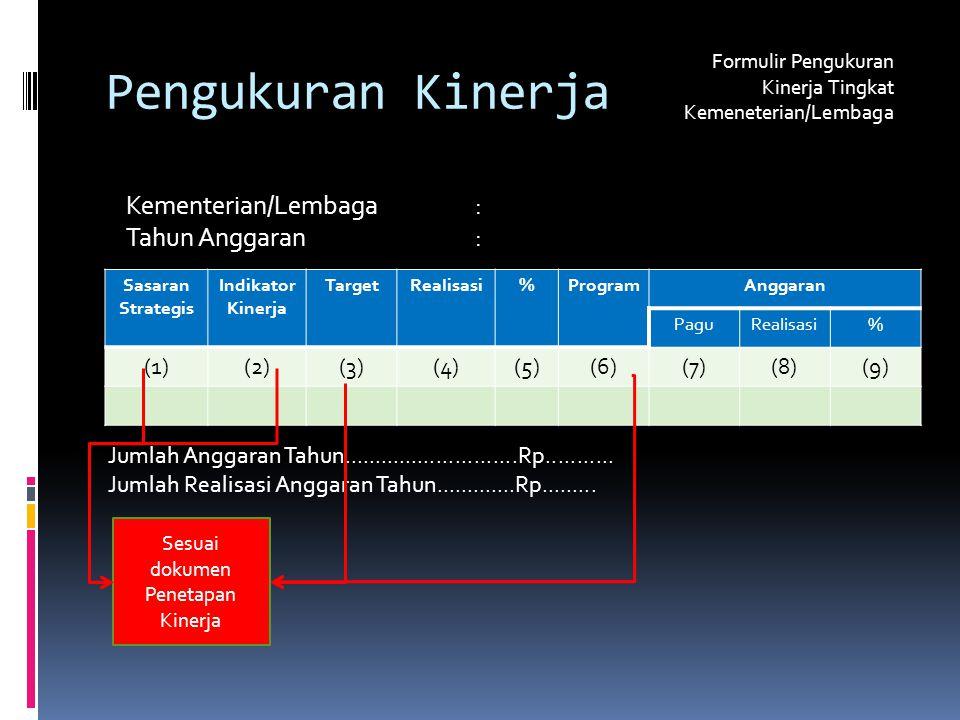 Pengukuran Kinerja Formulir Pengukuran Kinerja Tingkat Kemeneterian/Lembaga Kementerian/Lembaga: Tahun Anggaran: Sasaran Strategis Indikator Kinerja TargetRealisasi%ProgramAnggaran PaguRealisasi% (1)(2)(3)(4)(5)(6)(7)(8)(9) Jumlah Anggaran Tahun............................Rp...........