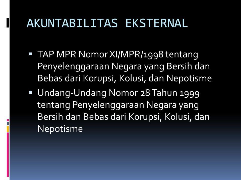 AKUNTABILITAS EKSTERNAL  TAP MPR Nomor XI/MPR/1998 tentang Penyelenggaraan Negara yang Bersih dan Bebas dari Korupsi, Kolusi, dan Nepotisme  Undang-Undang Nomor 28 Tahun 1999 tentang Penyelenggaraan Negara yang Bersih dan Bebas dari Korupsi, Kolusi, dan Nepotisme
