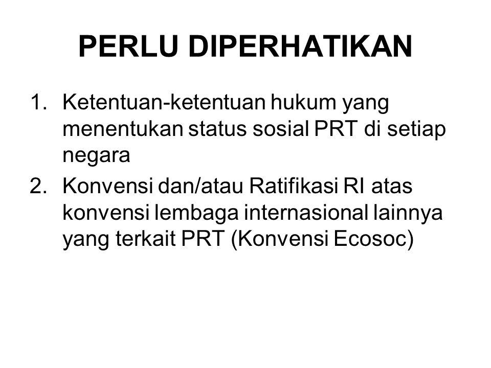 PERLU DIPERHATIKAN 1.Ketentuan-ketentuan hukum yang menentukan status sosial PRT di setiap negara 2.Konvensi dan/atau Ratifikasi RI atas konvensi lembaga internasional lainnya yang terkait PRT (Konvensi Ecosoc)