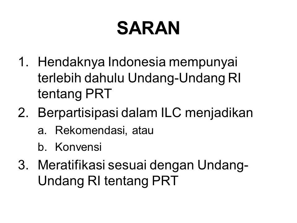 SARAN 1.Hendaknya Indonesia mempunyai terlebih dahulu Undang-Undang RI tentang PRT 2.Berpartisipasi dalam ILC menjadikan a.Rekomendasi, atau b.Konvensi 3.Meratifikasi sesuai dengan Undang- Undang RI tentang PRT