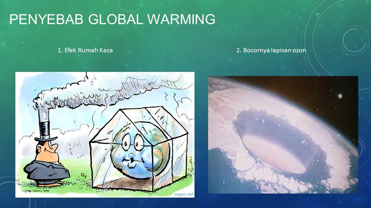 PENYEBAB GLOBAL WARMING 1. Efek Rumah Kaca 2. Bocornya lapisan ozon