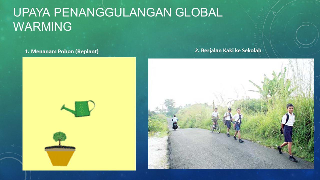 UPAYA PENANGGULANGAN GLOBAL WARMING 1. Menanam Pohon (Replant) 2. Berjalan Kaki ke Sekolah