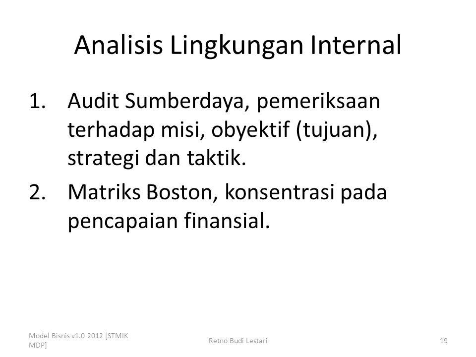 Analisis Lingkungan Internal 1.Audit Sumberdaya, pemeriksaan terhadap misi, obyektif (tujuan), strategi dan taktik. 2.Matriks Boston, konsentrasi pada