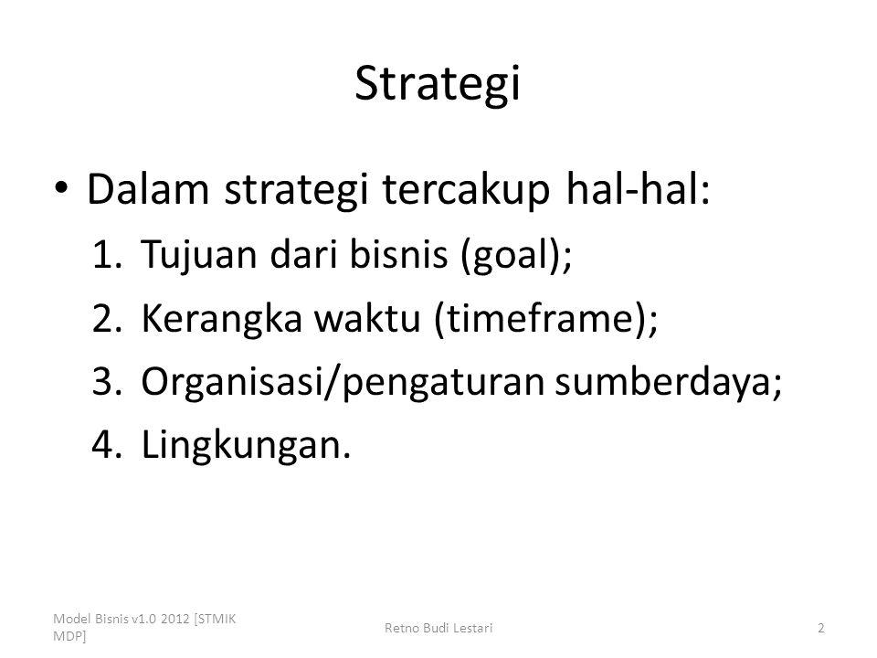 Strategi Dalam strategi tercakup hal-hal: 1.Tujuan dari bisnis (goal); 2.Kerangka waktu (timeframe); 3.Organisasi/pengaturan sumberdaya; 4.Lingkungan.