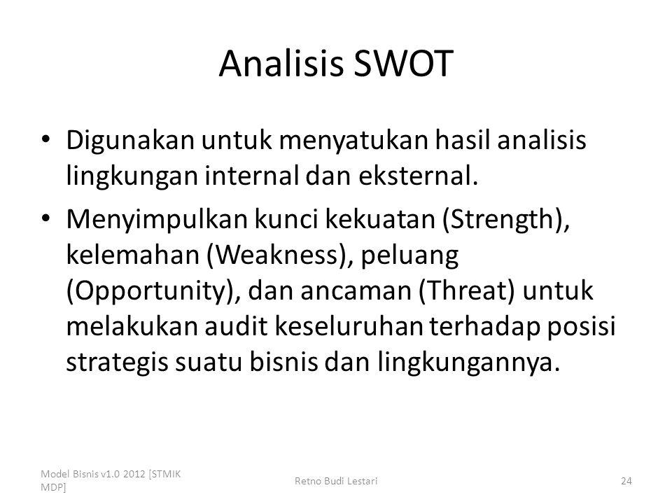 Analisis SWOT Digunakan untuk menyatukan hasil analisis lingkungan internal dan eksternal. Menyimpulkan kunci kekuatan (Strength), kelemahan (Weakness