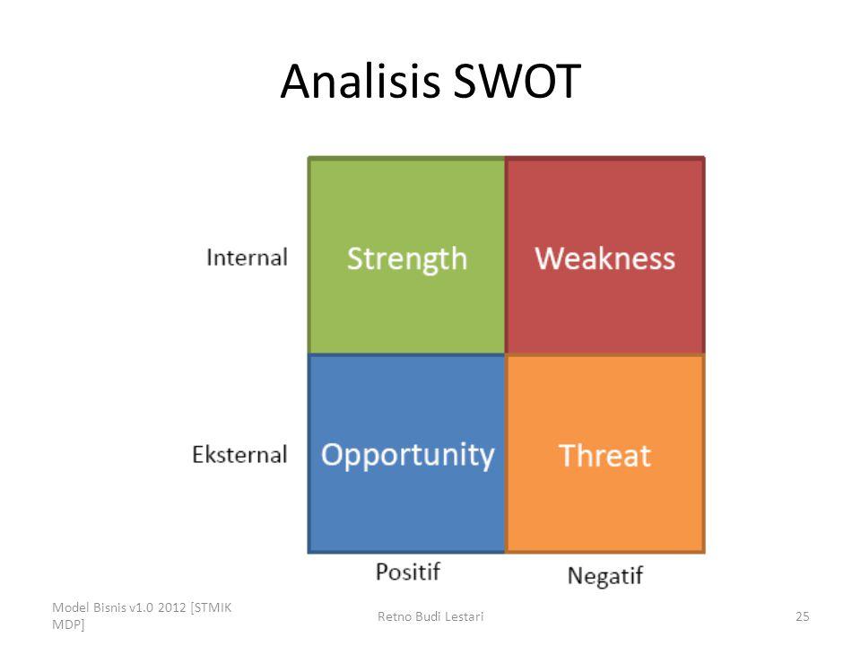 Analisis SWOT Model Bisnis v1.0 2012 [STMIK MDP] Retno Budi Lestari25