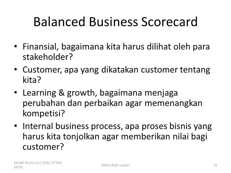 Balanced Business Scorecard Finansial, bagaimana kita harus dilihat oleh para stakeholder? Customer, apa yang dikatakan customer tentang kita? Learnin