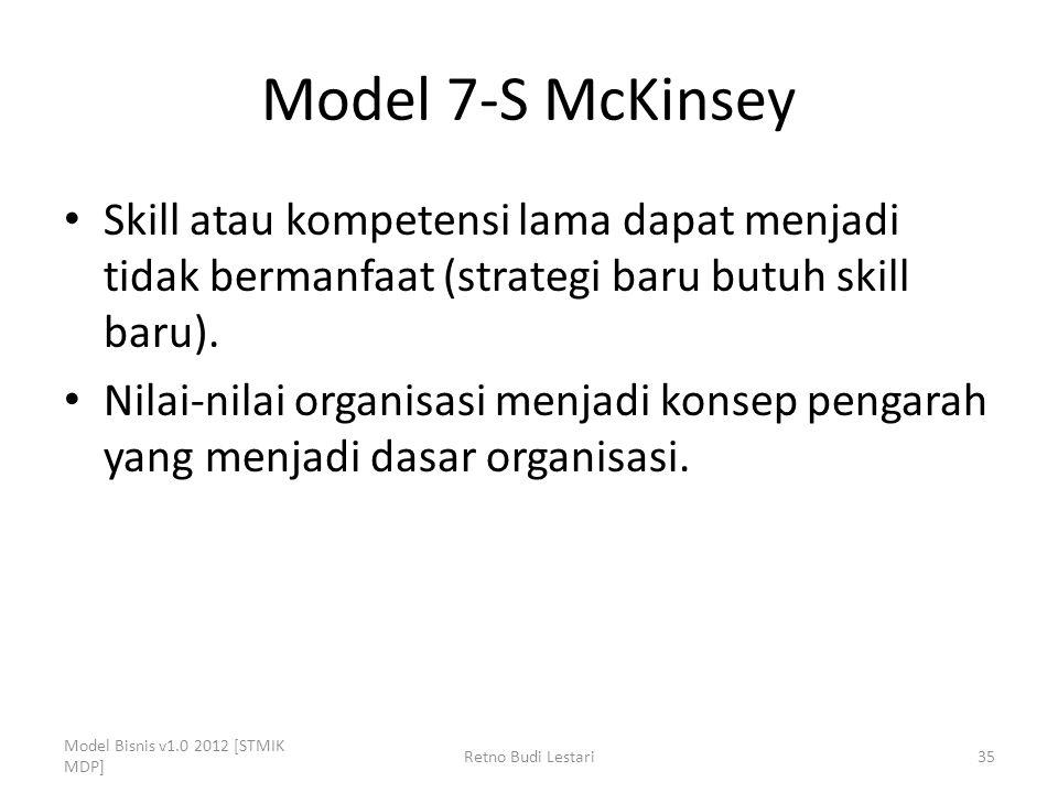 Model 7-S McKinsey Skill atau kompetensi lama dapat menjadi tidak bermanfaat (strategi baru butuh skill baru). Nilai-nilai organisasi menjadi konsep p