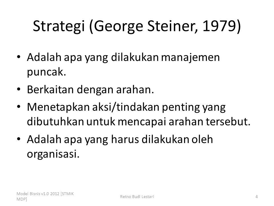 Strategi (George Steiner, 1979) Adalah apa yang dilakukan manajemen puncak. Berkaitan dengan arahan. Menetapkan aksi/tindakan penting yang dibutuhkan