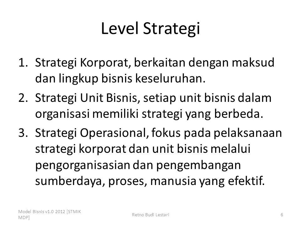 Level Strategi 1.Strategi Korporat, berkaitan dengan maksud dan lingkup bisnis keseluruhan. 2.Strategi Unit Bisnis, setiap unit bisnis dalam organisas