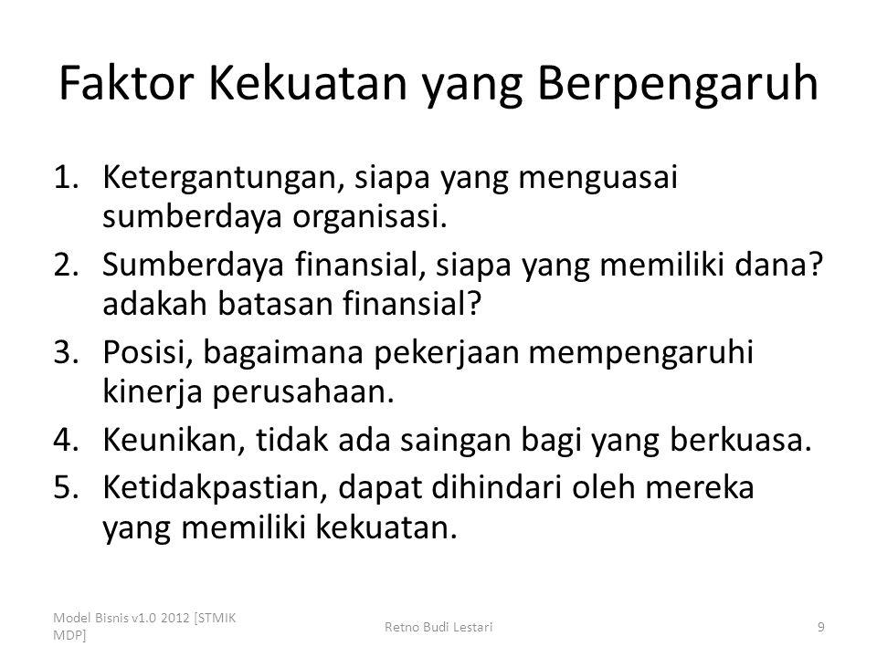 Faktor Kekuatan yang Berpengaruh 1.Ketergantungan, siapa yang menguasai sumberdaya organisasi. 2.Sumberdaya finansial, siapa yang memiliki dana? adaka