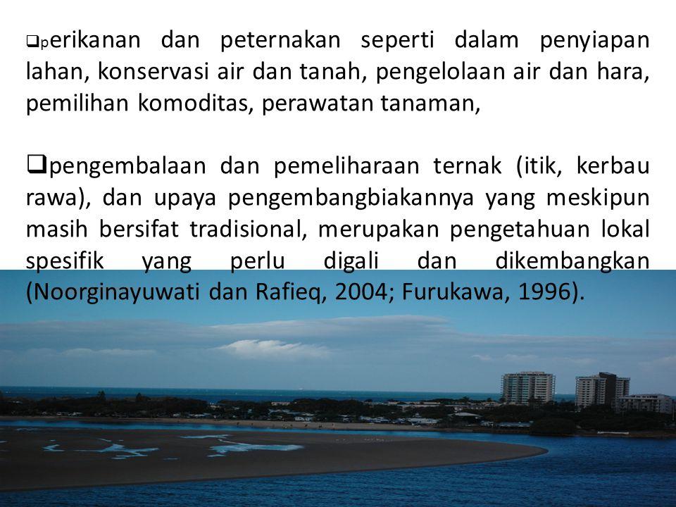  p erikanan dan peternakan seperti dalam penyiapan lahan, konservasi air dan tanah, pengelolaan air dan hara, pemilihan komoditas, perawatan tanaman,