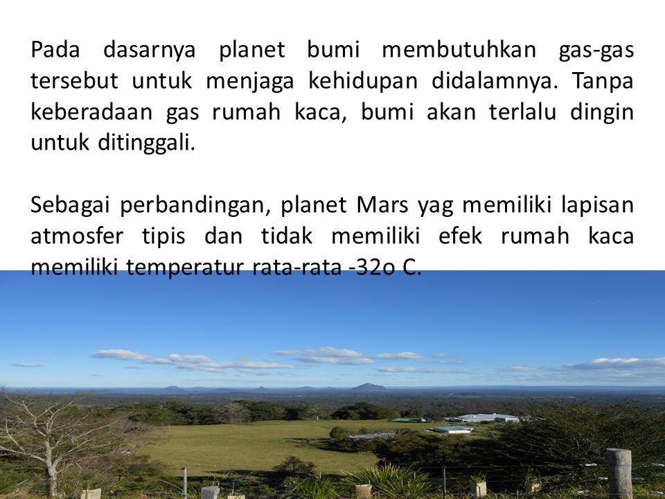 Pada dasarnya planet bumi membutuhkan gas-gas tersebut untuk menjaga kehidupan didalamnya. Tanpa keberadaan gas rumah kaca, bumi akan terlalu dingin u