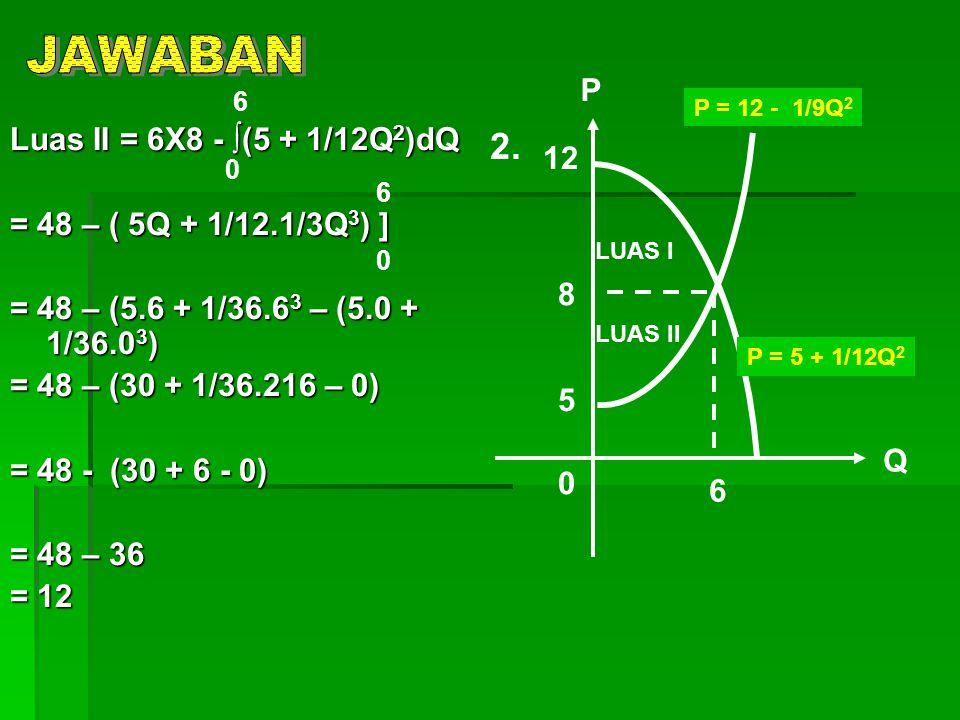Luas II = 6X8 - ∫(5 + 1/12Q 2 )dQ = 48 – ( 5Q + 1/12.1/3Q 3 ) ] = 48 – (5.6 + 1/36.6 3 – (5.0 + 1/36.0 3 ) = 48 – (30 + 1/36.216 – 0) = 48 - (30 + 6 -