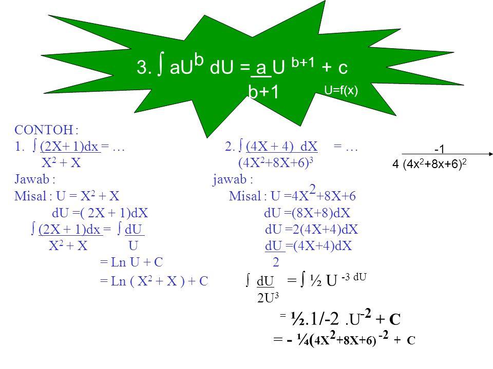 3. ∫ aU b dU = a U b+1 + c b+1 U=f(x) CONTOH : 1.∫ (2X+ 1)dx = … 2. ∫ (4X + 4) dX = … X 2 + X (4X 2 +8X+6) 3 Jawab : jawab : Misal : U = X 2 + X Misal