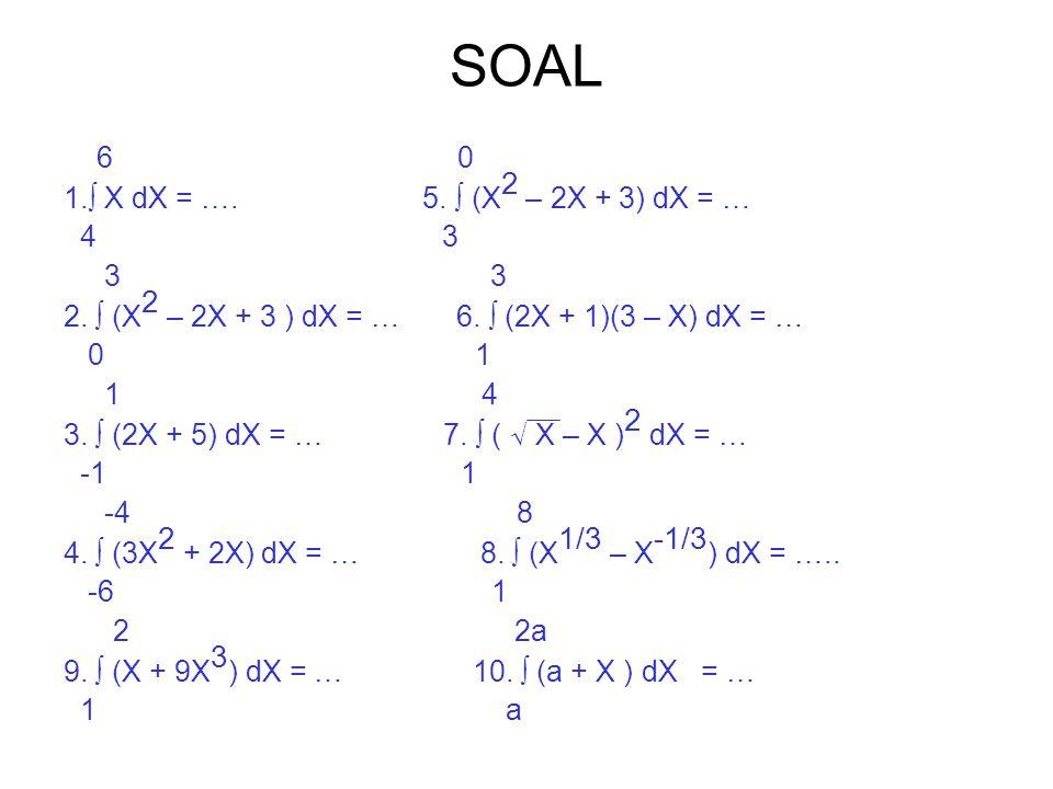 SOAL 6 0 1.∫ X dX = …. 5. ∫ (X 2 – 2X + 3) dX = … 4 3 3 3 2. ∫ (X 2 – 2X + 3 ) dX = … 6. ∫ (2X + 1)(3 – X) dX = … 0 1 1 4 3. ∫ (2X + 5) dX = … 7. ∫ (