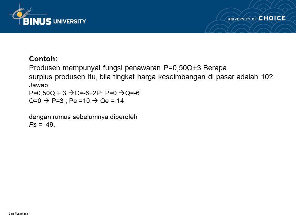 Bina Nusantara Contoh: Produsen mempunyai fungsi penawaran P=0,50Q+3.Berapa surplus produsen itu, bila tingkat harga keseimbangan di pasar adalah 10?