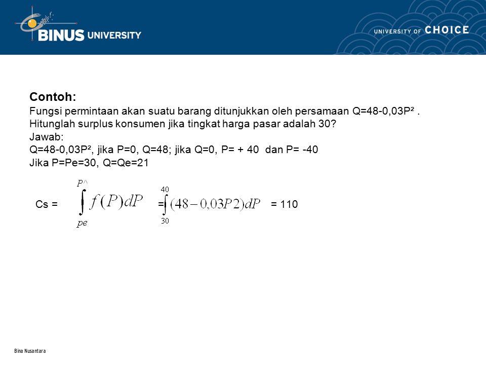 Bina Nusantara Contoh: Fungsi permintaan akan suatu barang ditunjukkan oleh persamaan Q=48-0,03P². Hitunglah surplus konsumen jika tingkat harga pasar