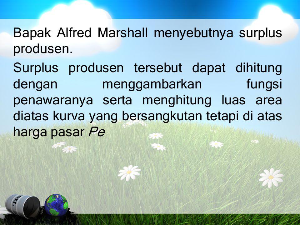 Bapak Alfred Marshall menyebutnya surplus produsen. Surplus produsen tersebut dapat dihitung dengan menggambarkan fungsi penawaranya serta menghitung